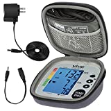 Vive Precision Blood Pressure Machine - Heart Rate Monitor - Automatic BPM Upper Arm Cuff - Sphygmomanometer for Hypertension and Accurate Pulse (Silver, Deluxe Model)