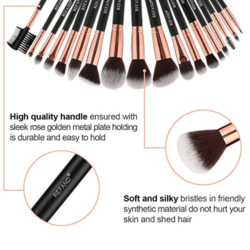 Refand Makeup Brushes Premium Makeup Brush Set Professional Makeup Kit with Pu Leather Storage Bag Rose Gold Black (18 pcs)