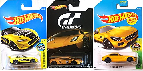Exclusive Gran Turismo Lamborghini Gallardo LP 570-4 Superleggera, 2015 Mercedes-AMG GT, and 2015 Mazda MX-5 Miata Hot Wheels Yellow Combo 3-Car Bundle in PROTECTIVE CASES