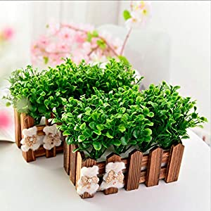 HATABO Plant Fence Fence Flower Artificial Flowers for Wedding Party Decoration Peppermint Grass+Fence Plant Plastic Flower+Vase Bonsai Set Fake Flowers Gift (Random) 85