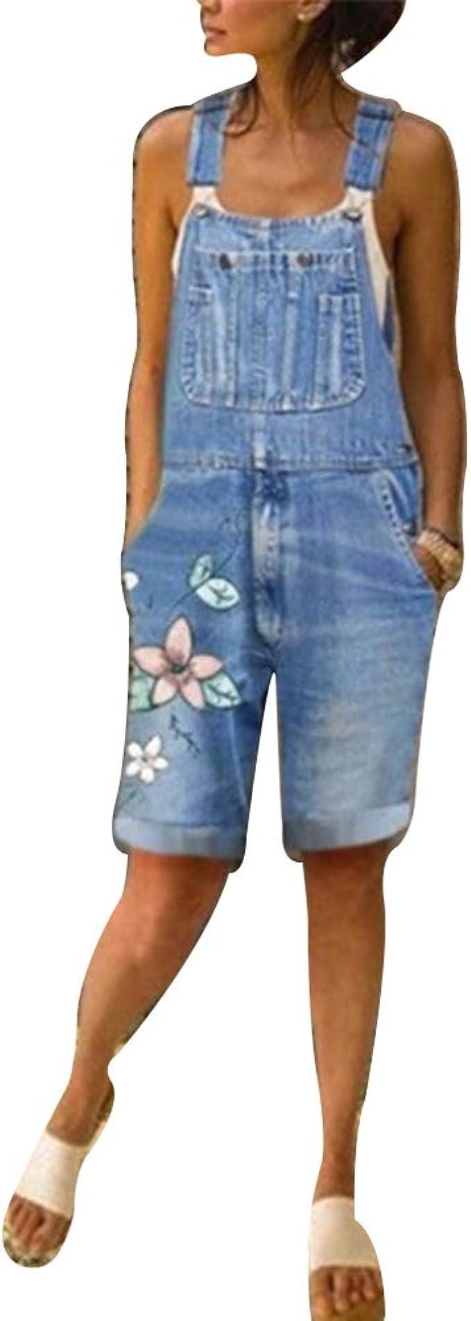 Shujin Salopette Jeans Femme Courte Combinaison Denim Shorts Imprim/é Fleurs Jumpsuit Pantalon Courts L/âche pour Et/é