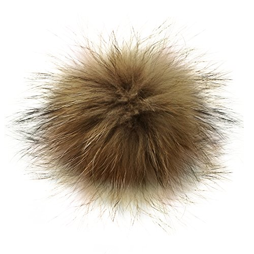 5 Real Raccoon Fur Pom Pom with Button for Knitted Fur Hat Beanie Hats (Brown)