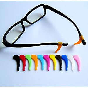 OHSEE 6 Pairs Eyeglasses Temple Tips Ear Grips Hook Anti-slip Holder Silicone Reading Sport Accessories for Kids & Adults (Random Color)