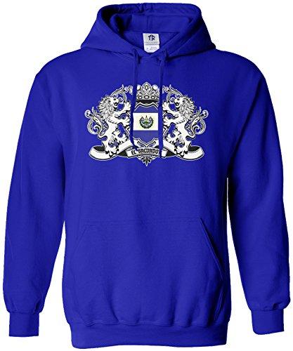 El Salvador Ladies (Threadrock Women's El Salvador Lion Crest Flag Hoodie Sweatshirt M Royal Blue)