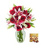 #6: KaBloom Valentine's Day Special: Red Shades of Love Mixed Bouquet of 12 Red Roses and 5 Stargazer Lilies with Vase and One Box of Lindt Chocolates