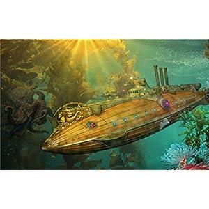 Tomorrow sunny steampunk punk sci fi vehicles submarine ocean art fantasy underwater 24×36 inch Silk Poster wall decor