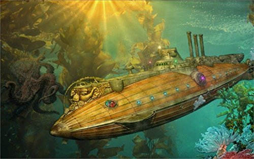 Tomorrow sunny steampunk punk sci fi vehicles submarine ocean art fantasy underwater 24x36 inch Silk Poster wall decor 3