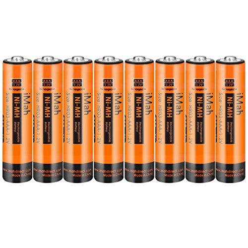 - 8-Pack iMah AAA Rechargeable Batteries 1.2V 750mAh Ni-MH, Also Compatible with Panasonic Cordless Phone Battery 1.2V 550mAh HHR-55AAABU and 750mAh HHR-75AAA/B, Toys and Outdoor Solar Lights