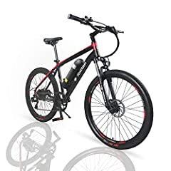E-bike SpecificationsBattery: 36V / 10.4AH LG Brand lithium batteryMotor: Stable 350W high speed brushless gear motors - Mountain Bike Special DesignMaximum speed: Up to 19.8 mphCharger: US standard 2.0A smart chargerCharging time: 4-5 hoursM...