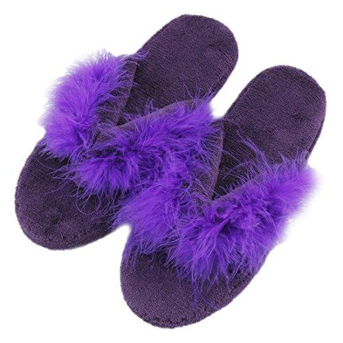Pantoufles Femmes Forfoot Confort Doublure En Peluche Spa Thong Tongs Maison Chaussons Dintérieur Violet