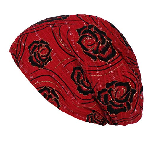 Pengy Women Fashion Muslim Hat Floral India Hat Ruffle Lady Lace Turban Wrap Head Cap Red