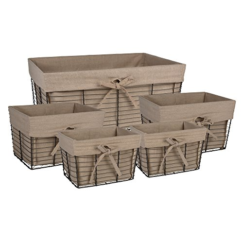 Home Traditions Vintage Metal Chicken Wire Storage Basket with Removable Fabric Liner, Set of 5 Mixed Nesting Sizes, Desert Taupe Fabric with Grey Wire