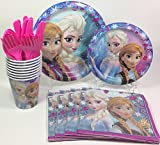 BashBox Disney Frozen Birthday Party Supplies Pack Including Cake & Lunch Plates, Cutlery, Cups & Napkins for 8 Guests