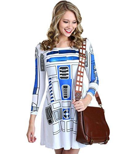 Costumes R2d2 Women (Star Wars I AM R2D2 Costume Skater Dress-Junior Large)