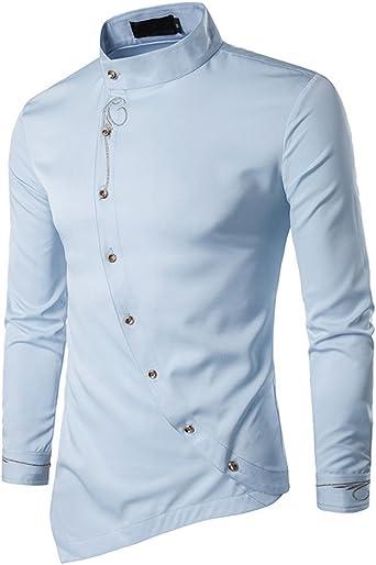 GUOCU Camisas de Manga Larga para Hombres Botones de Satén Slim Fit Jacquard Sólidos Camisas Delgadas Camisa Traje Bordado: Amazon.es: Ropa y accesorios