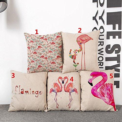 44x44CM C1 lino BIGBOBA Lino patr/ón de funda vintage Flamencos sof/á coj/ín suave decorativo Sof/á almohada funda de coj/ín 45/* 45/cm