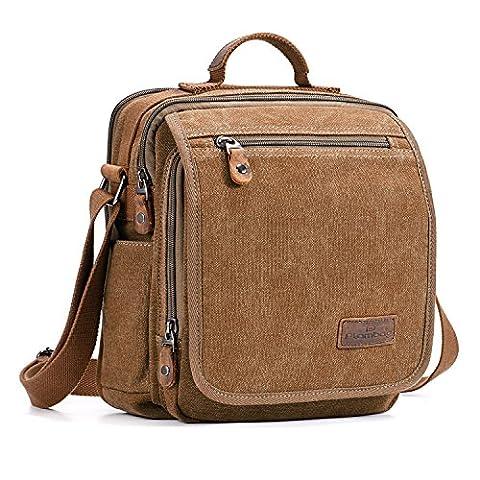 Plambag Canvas Messenger Bag Small Travel School Crossbody Bag Fit iPad Coffee