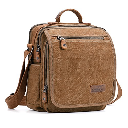 Plambag Canvas Messenger Bag Small Travel School Crossbody Bag Fit iPad -
