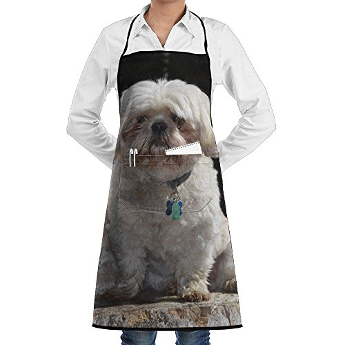 RZ GMSC Novelty Two Shih Tzu Dogs Kitchen Chef Apron With Big Pockets - Chef Apron For Cooking,Baking,Crafting,Gardening And BBQ