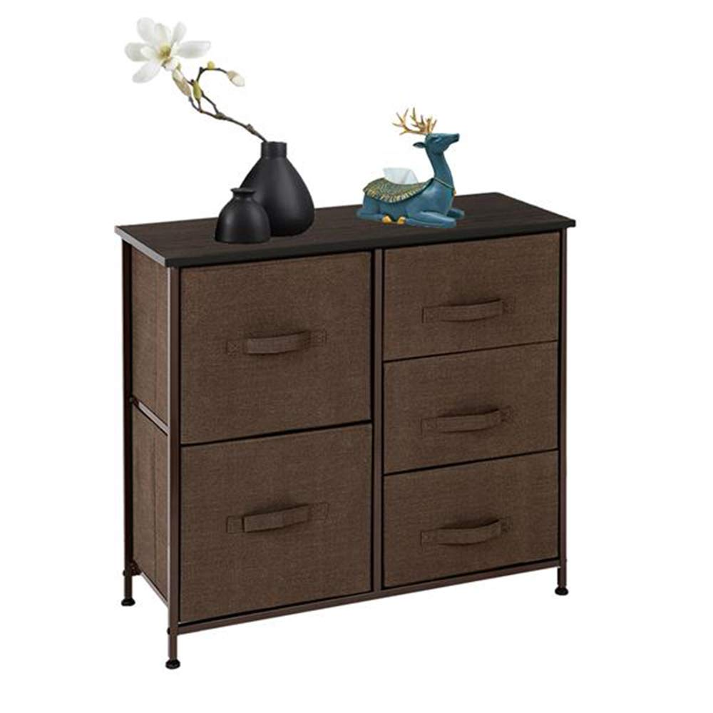 HomVent Wide Dresser Storage Tower, Sturdy Iron Frame, Wood Top, 5 Fabric Drawers, Clothes Organizer Drawers Storage Cube Dresser for Closet, Nursery, Bathroom, Laundry, Bedroom (Brown) by HomVent