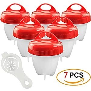 Egg Cooker Set with Egg Separator,7 Pack Skyansou Easy Soft Hard Boiled Eggs Cooker Maker without the Shell,BPA Free, Non Stick Silicone, As Seen On TV