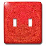 3dRose David Zydd - Floral Mandalas - Fire Flower Mandala - red abstract floral graphic - Light Switch Covers - double toggle switch (lsp_286852_2)