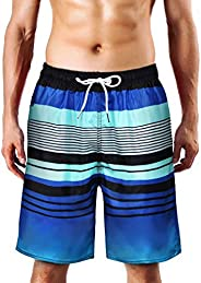 QRANSS Men's Quick Dry Swim Trunks Bathing Suit Striped Shorts with Poc