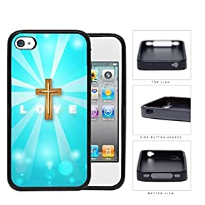LOVE With Gold Cross And Light Blue Background iPhone 4 4s Rubber Silicone TPU Cell Phone Case
