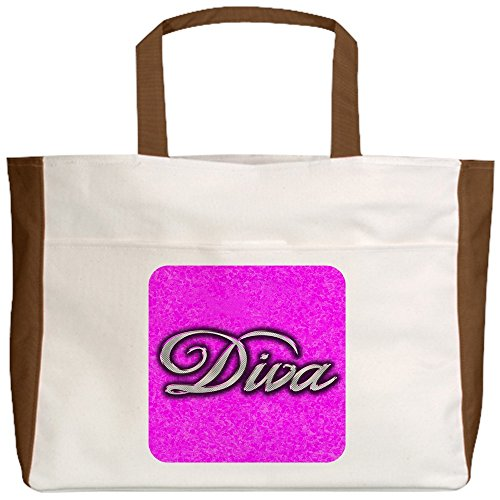 Royal Lion Beach Tote (2-Sided) Pink Diva Princess - Mocha by Royal Lion