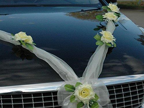 Amazon De Organza M Auto Schmuck Braut Paar Rose Deko Dekoration