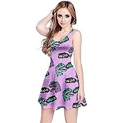 CowCow Womens Violet Hello Dino Sleeveless Dress, Violet Hello Dino - L