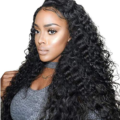 BEAUFOX Brazilian Deep Wave Human Hair Lace Front Wigs With Baby Hair 150% Density Unprocessed Human Hair Wigs For Black Women Wet and Wavy(10in Front Wigs, Natural Color) ...