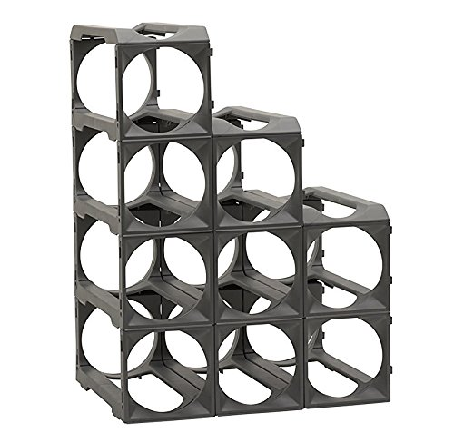 Stakrax - Stackable, Modular Wine Rack - 12 Bottle Set (12 Bottle Wine Rack Black)
