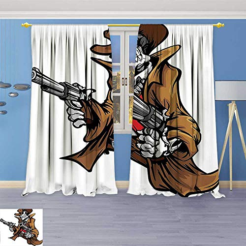 Philiphome Grommet Thermal Insulated Curtains,Dead Skeleton Cowboy Shooting with Big Pistol Evil Old West Gang Illustration Brown Room Darkening Blackout Curtains Window Panels ()