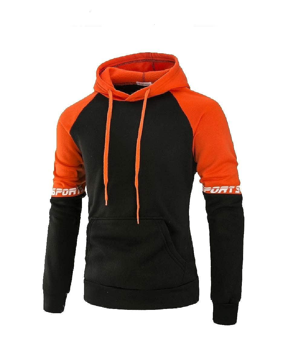 YUNY Mens Hood Oversize Color Splice Outdoor Hoodie Shirt Top 1 S