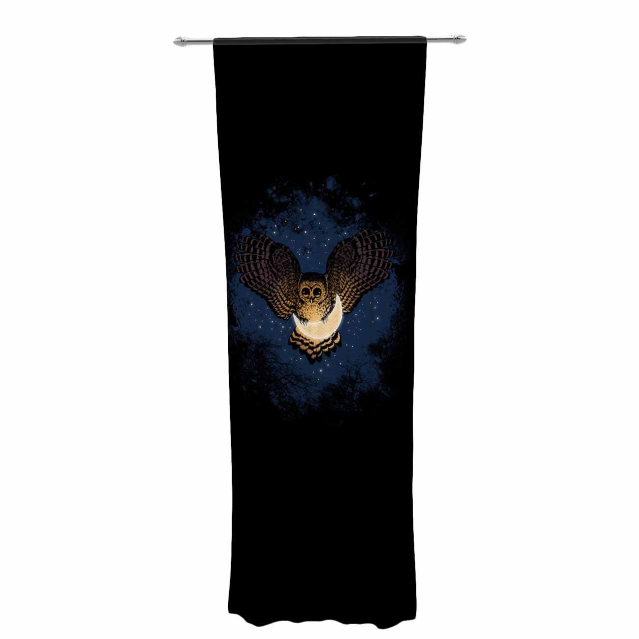 Kess InHouse BarmalisiRTB Catch The Moon Blue Yellow Digital Decorative Set 30 x 84 Sheer Curtains