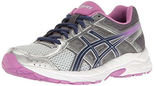 ASICS Women's Gel-Contend 4 Running Shoe, Silver/Campanula/Carbon, 8.5 M US