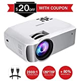 Mpow Projector, 1080P Supported Mini Projector 130 ANSI Full HD Home Theatre LED Projector ±45° Vertical Keystone Correction Video Projector, Include Triangle Bracket and HDMI VGA AV USB MicroSD Ports