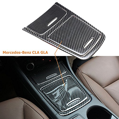 1 set Real Carbon Fiber Gears Panel Storage Box Sticker For Mercedes Benz CLA GLA A180 (Mercedes Benz Truck Center)