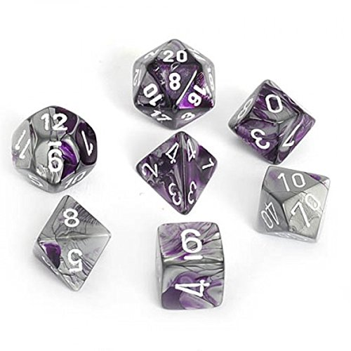- Chessex Dice Polyhedral 7-Die Gemini Set - Purple-Steel with White CHX-26432