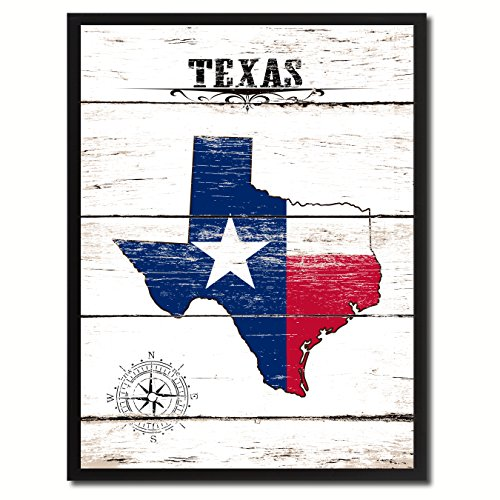 Texas State Vintage Flag Canvas Print Black Picture Frame Gift Ideas Home Decor Wall Art Decoration Gift -