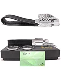 Leather Valet Key Chain with 4 Detachable Key Rings, Black (C003)