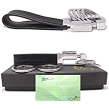 Olivery Leather Valet Key Chain with 4 Detachable Key Rings, Black (C003)