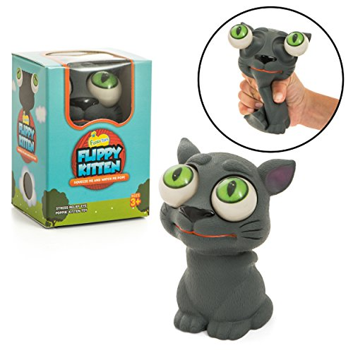 Funky Toys Flippy Kitten - Eye Popping Cat Large Squishy Squeeze Toy for Stress Reduction for Boys & Girls | Great for Kids with Autism & ADHD