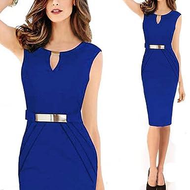 Ouguan® Femmes Robe Crayon Col V Ajourée Tailleur Robe de Bureau   Amazon.fr  Vêtements et accessoires a3be43ea73d