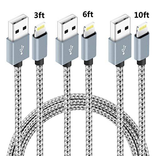 [해외]hkyushine 전화 충전기 케이블 3 팩 3ft 6 피트 10ft 나일론 꼰 핸드폰 USB 충전기 코드 호환 전화 XS XR X 8 7 플러스 SE 6s 6 5 5c 5s 플러스 패드 미니에 어 프로 화이트 / HKYUSHINE Phone Charger Cable 3 Pack 3ft 6ft 10ft Nylon Braided Cel...
