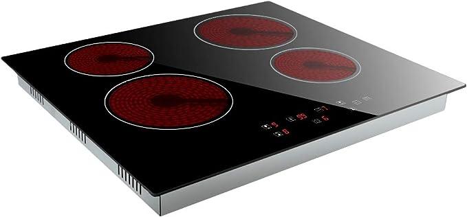 Cuatro zonas cocinas eléctricas empotradas inducción placa niño bloqueo 9 niveles de potencia cocina de vidrio negro con controles táctiles: Amazon.es: Grandes electrodomésticos