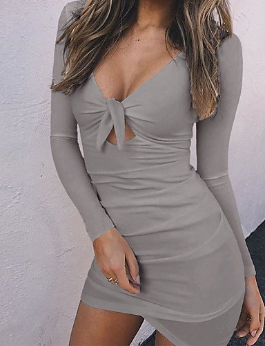 NAERFB collo sopra un di Maniche V elastica Lunghe linea luogo ginocchio Inverno Daily Sexy casuale poliestere solido Donna del Micro carino abito metà di Autunno Grey al fuori andando O0qwraO
