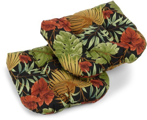 Blazing Needles Outdoor Spun Poly 19-Inch by 19-Inch by 5-Inch All Weather UV Resistant U-Shaped Cushions, Tropique Raven, Set of 2