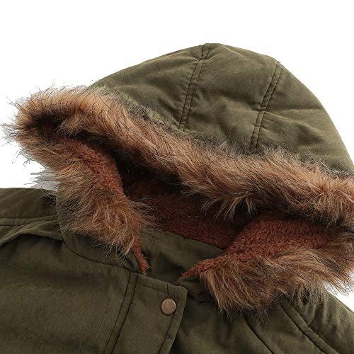Femme Fausse Doudoune Chic Jacket Verte Fourrure Manteau Hiver Col Armée Capuche À Ouvert Élégant Veste Manadlian Chaud dH44x